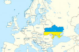 Ukrajina na mapě Evropy