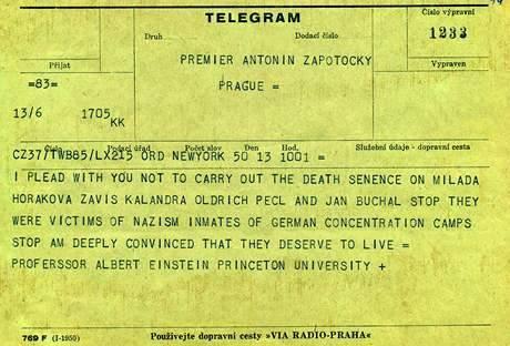Einstein za Miladu Horákovou