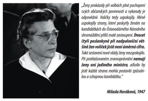 Milada Horakova o zenach v politice
