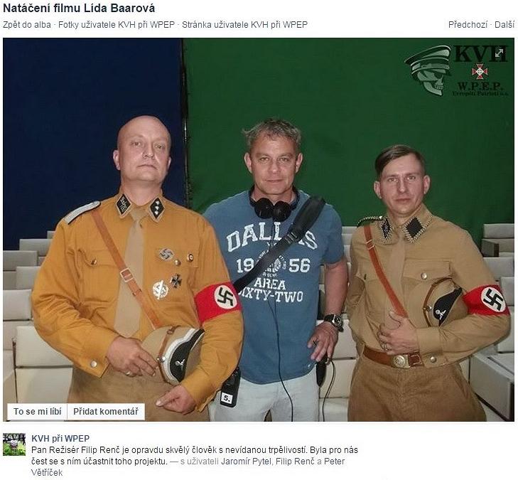 Klub vojenské historie ani Evropští patrioti nejsou žádní náckové. V civilu nosí placku s nápisem Stop rasismu (vyobrazená černá postava na ní mlátí tři bílé) a prsten s hákovým křížem.