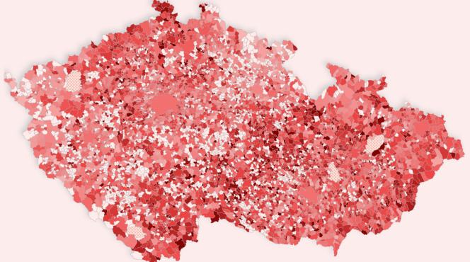 mapa obce covid prevalence duben 2021